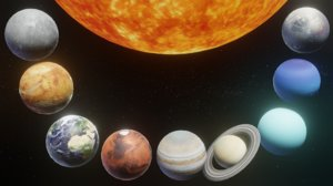 photorealistic solar planet moon 3D