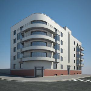 3D urban apartment building