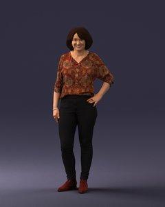3D woman posed model
