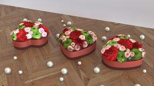 Flower box heart shape - LOW POLY -