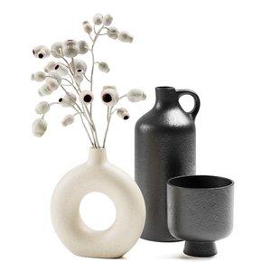 3D model set vases branches