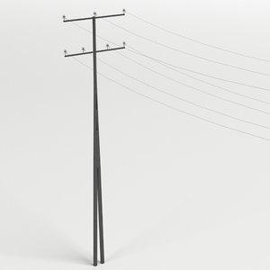 steel utility pole 3D model