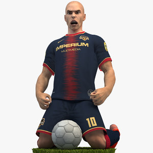 3D rigged soccer player 4k