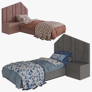 3D single beds 01 girls
