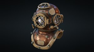 3D rerto diver helmet - model