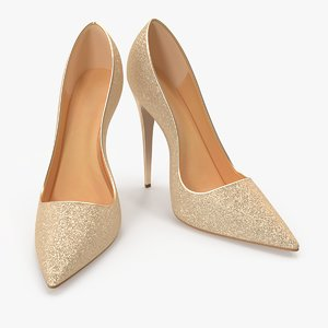 women s gold shoes 3D model
