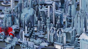 110 buildings futuristic city 3D