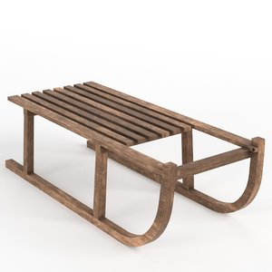vintage wooden sled 3D model