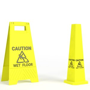 3D wet floor warning signs