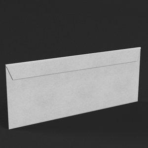 3D model white envelope
