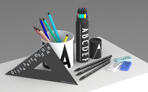 arne jacobsen stationery design 3D model