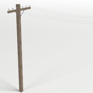 wooden telephone pole 3D model