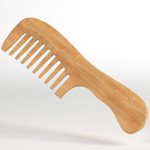 wooden wide tooth comb 3D model