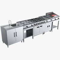 3D commercial kitchen unit