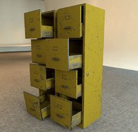 scratched double file cabinet 3D