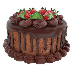 chocolate strawberry berry 3D model