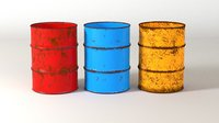 rusty oil drums contains 3D model
