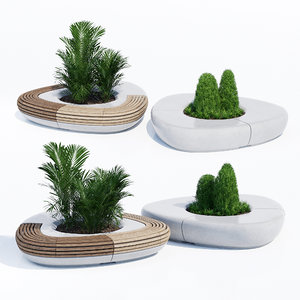 benches tree line 3D