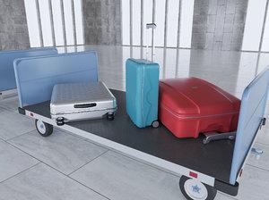 airport baggage carts 3D model