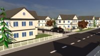 neighborhood sketchup rendered model