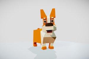 3D simple corgi dog animations