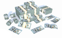 3D american dollar money