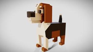 simple beagle dog animations 3D model