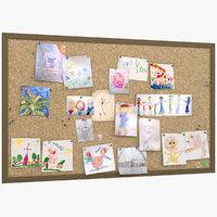 kid s drawings pinboard model