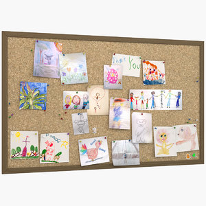 kid s drawings pinboard model