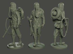 german soldier ww1 walk 3D model