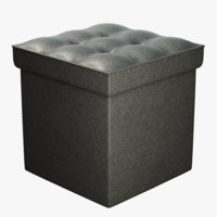 3D black leather storage pouf