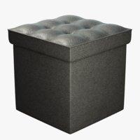 3D black leather storage pouf
