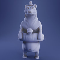 Bear 3D Print Model - White and Full Color versions