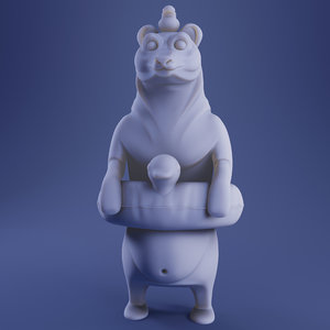 3D model summer bear print color