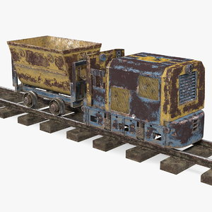 mining locomotive minecart railway 3D model