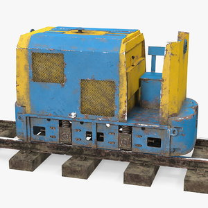 3D mining locomotive railway section model