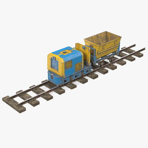 3D mining locomotive minecart railway