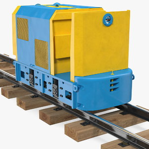 3D mining locomotive railway section