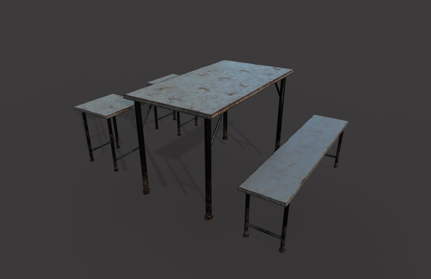 rusty metal table chairs 3D model