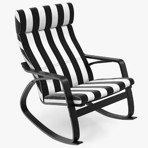 rocking chair black white 3D model