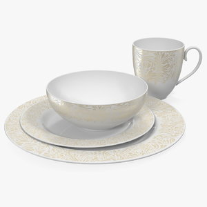 white gold dinnerware set 3D model