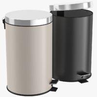 3D bathroom trash bin set model