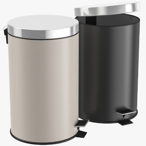 3D bathroom trash bin set model