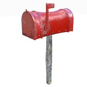 3D model red mailbox