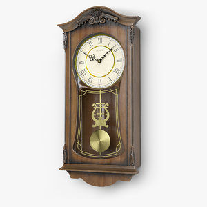 3D bulova pendulum wall clock model
