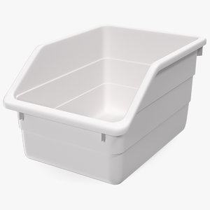 3D white plastic storage bin model