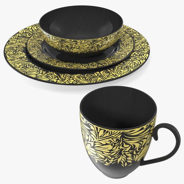 3D black gold dinnerware set