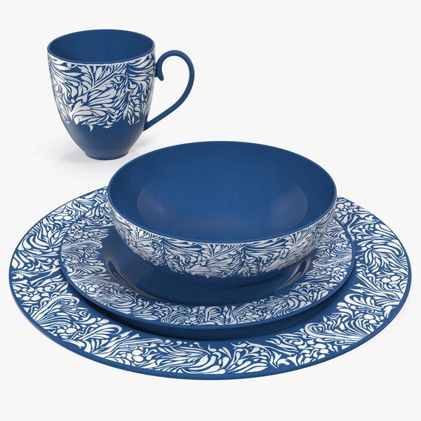 3D blue dinnerware set dinner model