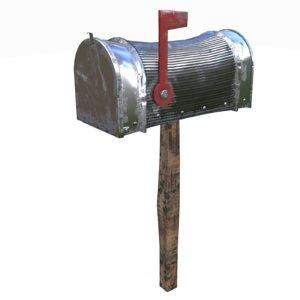 3D model silver mailbox