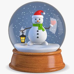 globe snowman snow 3D model